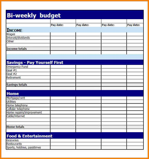 Bi Weekly Budget Worksheet 6 Bi Weekly Bill Pay Template