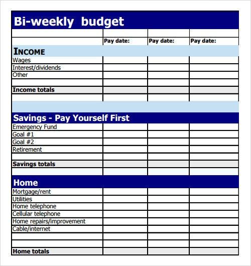 Bi Weekly Budget Worksheet Sample Bud 8 Documents In Pdf Excel