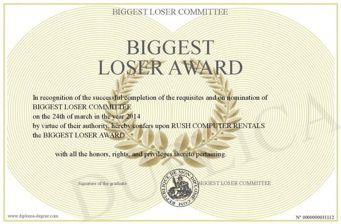 Biggest Loser Certificate Template Biggest Loser Award