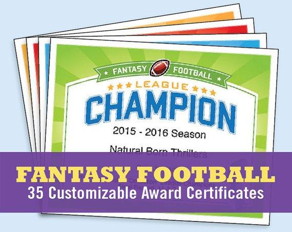 Biggest Loser Certificate Template Fantasy Football Certificates Fantasy Football Trophy