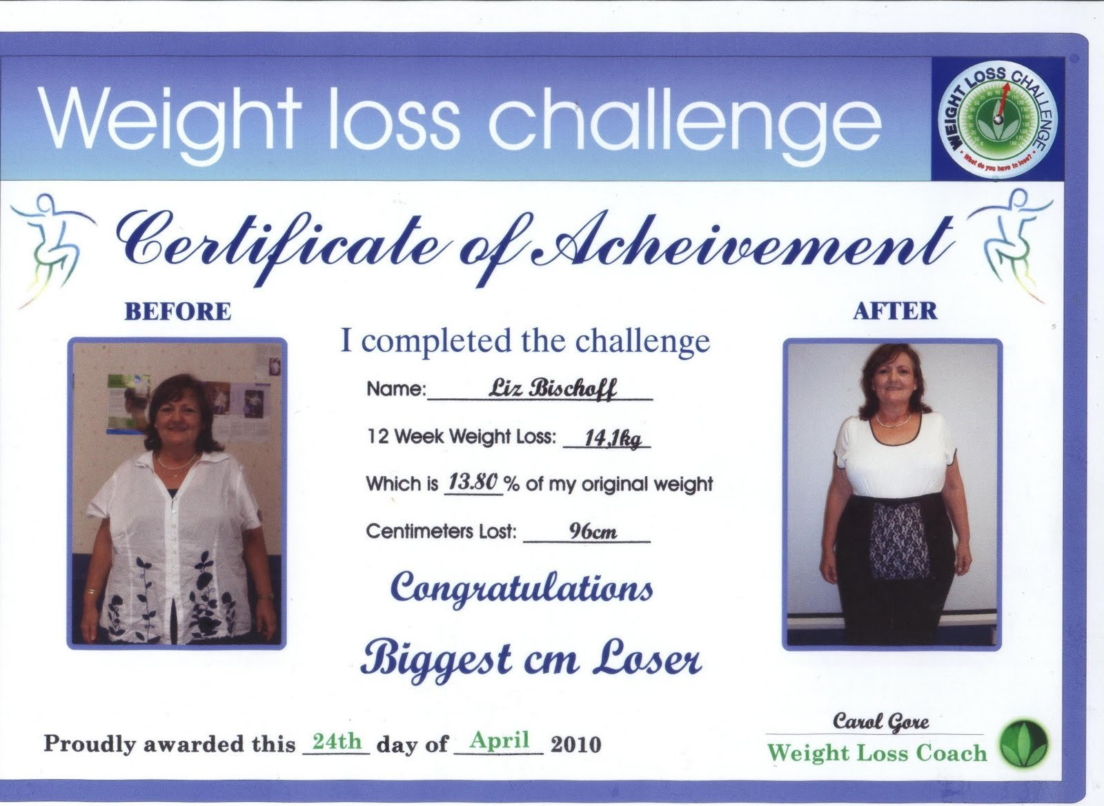 Biggest Loser Certificate Template Weight Loss Challenge