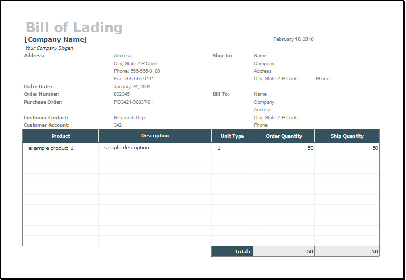 Bill Of Lading Template Excel Bill Of Lading Template for Ms Excel