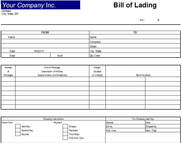 Bill Of Lading Template Excel Excel Bill Lading Template
