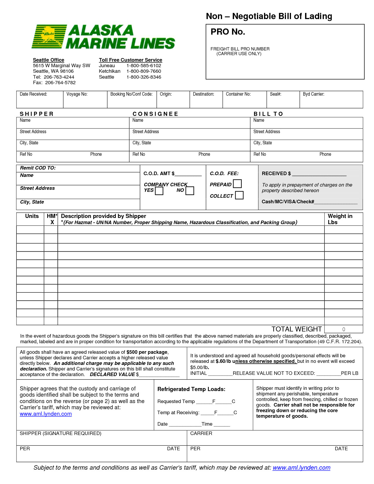 Bill Of Lading Templates 13 Bill Of Lading Templates Excel Pdf formats