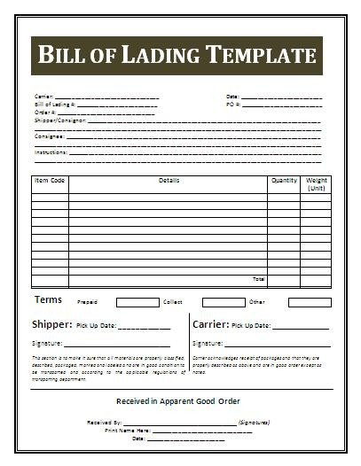 Bill Of Lading Templates Bill Lading Template