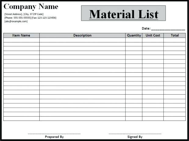 Bill Of Materials Excel Template 11 Bill Of Materials Example