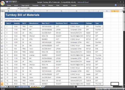 Bill Of Materials Excel Template Bill Of Materials Template Ms Word Excel
