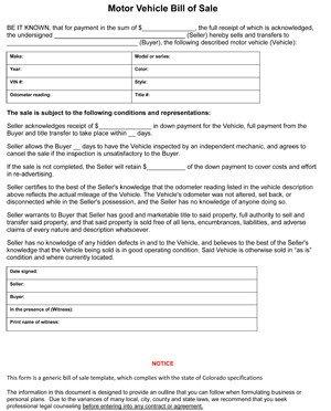Bill Of Sale Colorado Template Colorado Car Bill Of Sale form