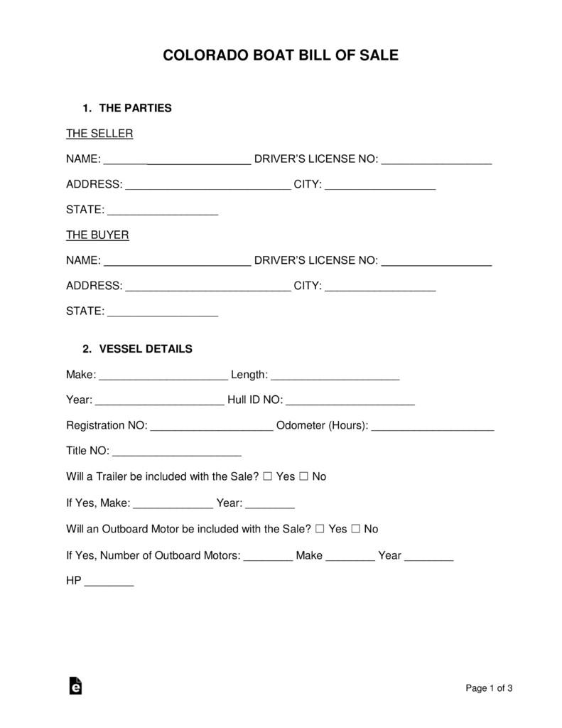 Bill Of Sale Colorado Template Free Colorado Boat Bill Of Sale form Word Pdf