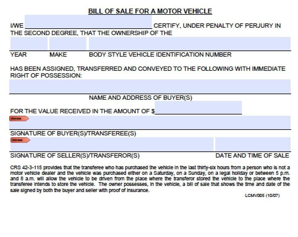 Bill Of Sale Colorado Template Free Colorado Boat Trailer Bill Of Sale form Pdf