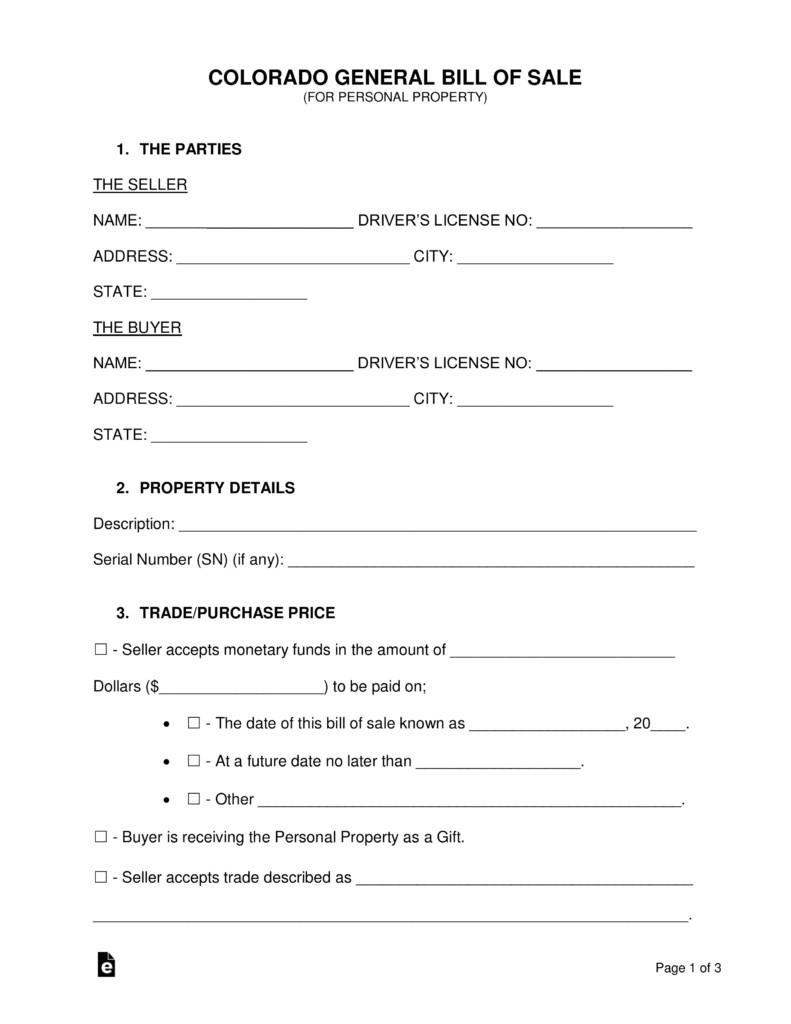 Bill Of Sale Colorado Template Free Colorado General Bill Of Sale form Word