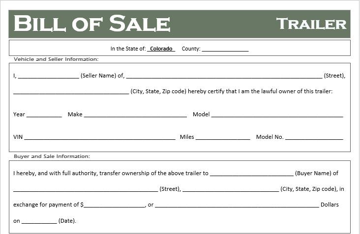 Bill Of Sale Colorado Template Free Colorado Trailer Bill Of Sale Template F Road Freedom