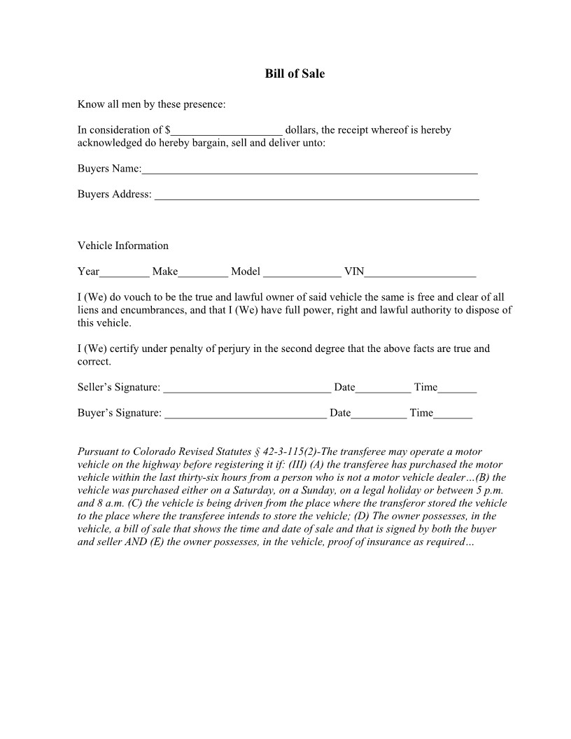 Bill Of Sale Colorado Template Free Colorado Vehicle Bill Of Sale form Download Pdf