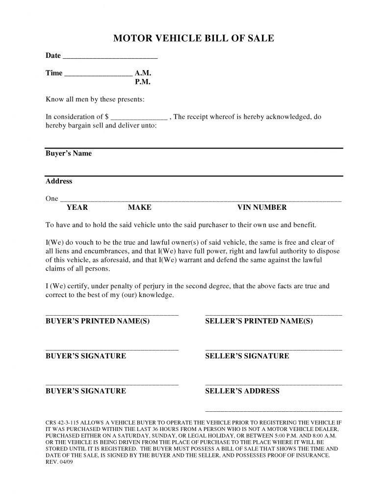 Bill Of Sale Colorado Template Free Colorado Vehicle Bill Of Sale form Pdf