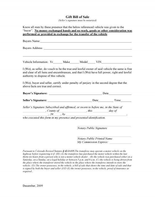 Bill Of Sale Colorado Template Free Colorado Vehicle Gift Bill Of Sale Pdf