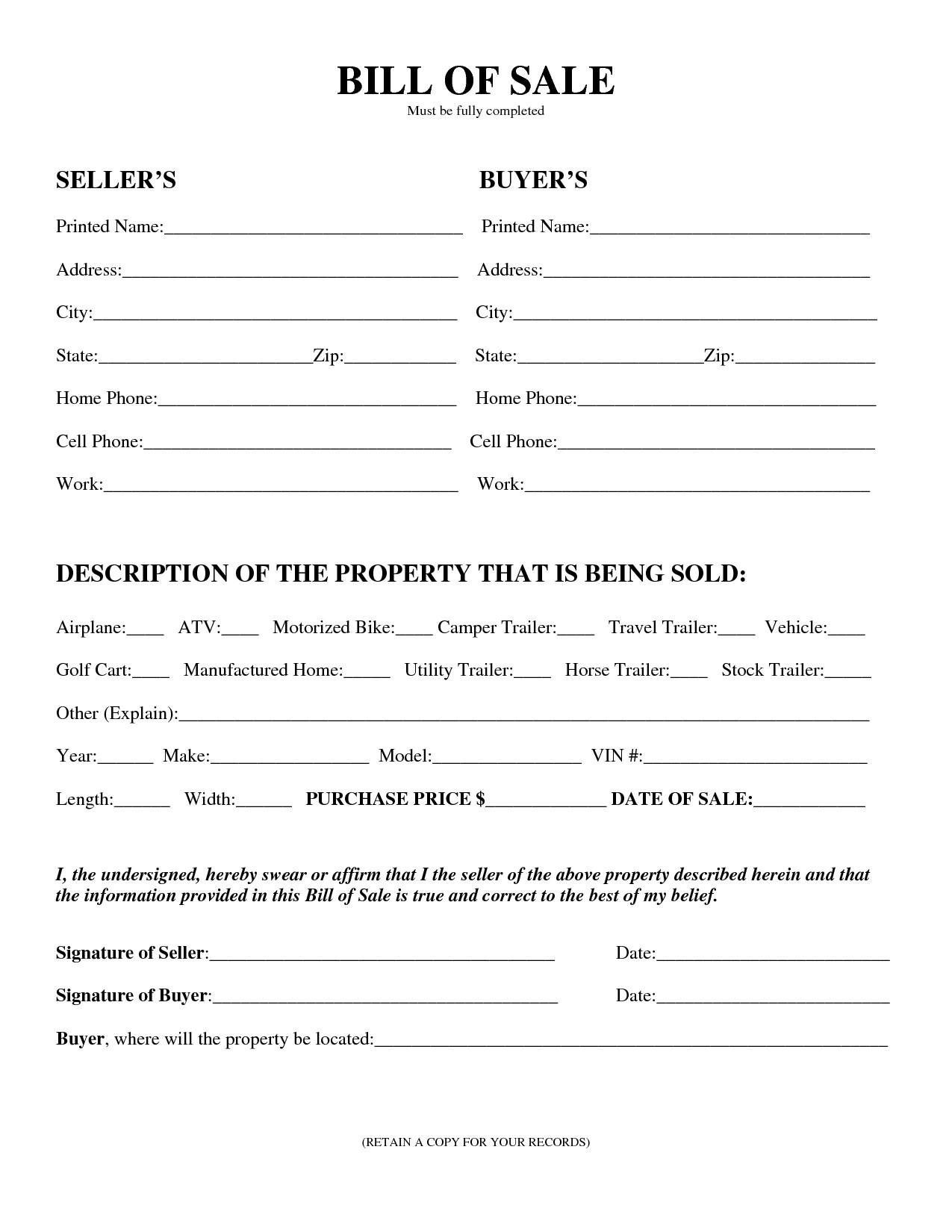 Bill Of Sale Colorado Template Free Printable Equipment Bill Sale Template form Generic