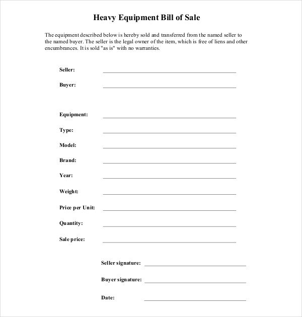 Bill Of Sale Equipment 7 Sample Equipment Bill Of Sale forms