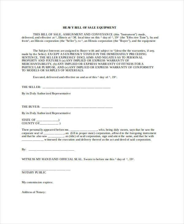 Bill Of Sale Equipment Bill Of Sale form In Word