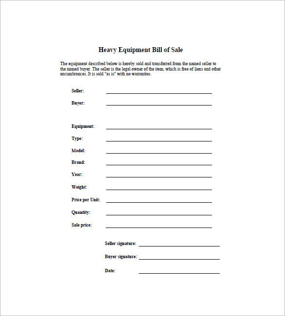 Bill Of Sale Equipment Bill Of Sale Template 44 Free Word Excel Pdf