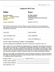 Bill Of Sale Equipment Editable Bill Of Sale Templates for Ms Word