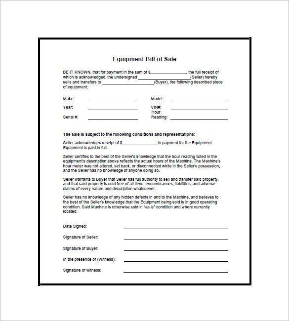 Bill Of Sale Equipment Equipment Bill Of Sale 7 Free Word Excel Pdf format