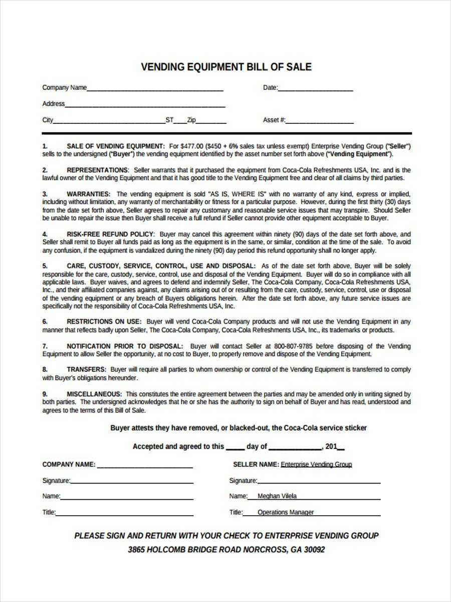 Bill Of Sale Equipment Equipment Bill Of Sale form 6 Free Documents In Word Pdf