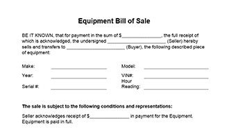 Bill Of Sale Equipment Equipment Bill Sale form In Word and Pdf