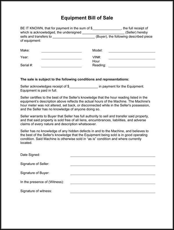 Bill Of Sale Equipment Equipment Bill Sale form