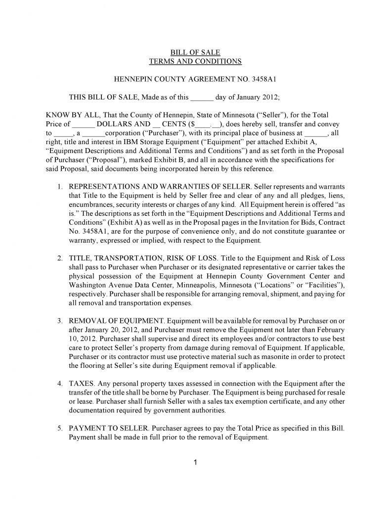 Bill Of Sale Equipment Free Minnesota Ibm Storage Equipment Bill Sale form
