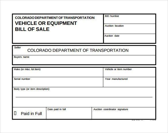 Bill Of Sale Equipment Sample Equipment Bill Of Sale Template 6 Free Document