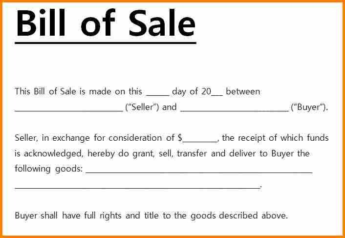 Bill Of Sale Florida Template 6 Simple Bill Of Sale Pdf