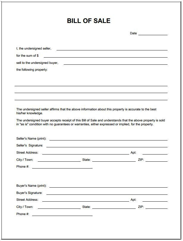 Bill Of Sale Florida Template Download Bill Sale form Pdf