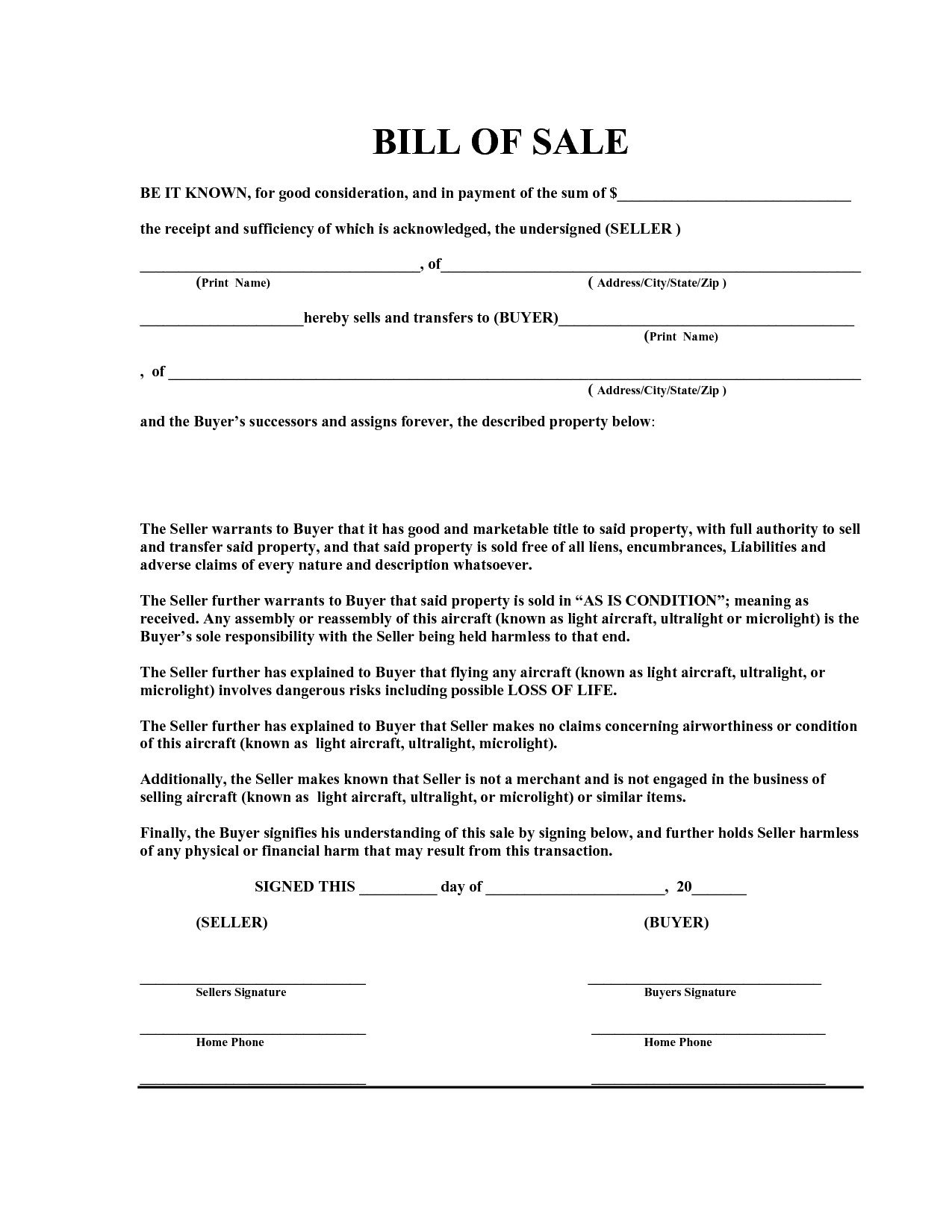 Bill Of Sale Florida Template Free Bill Of Sale Template Pdf by Marymenti as is Bill
