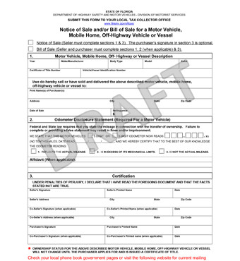 Bill Of Sale Florida Template Free Florida Bill Of Sale form Pdf Template