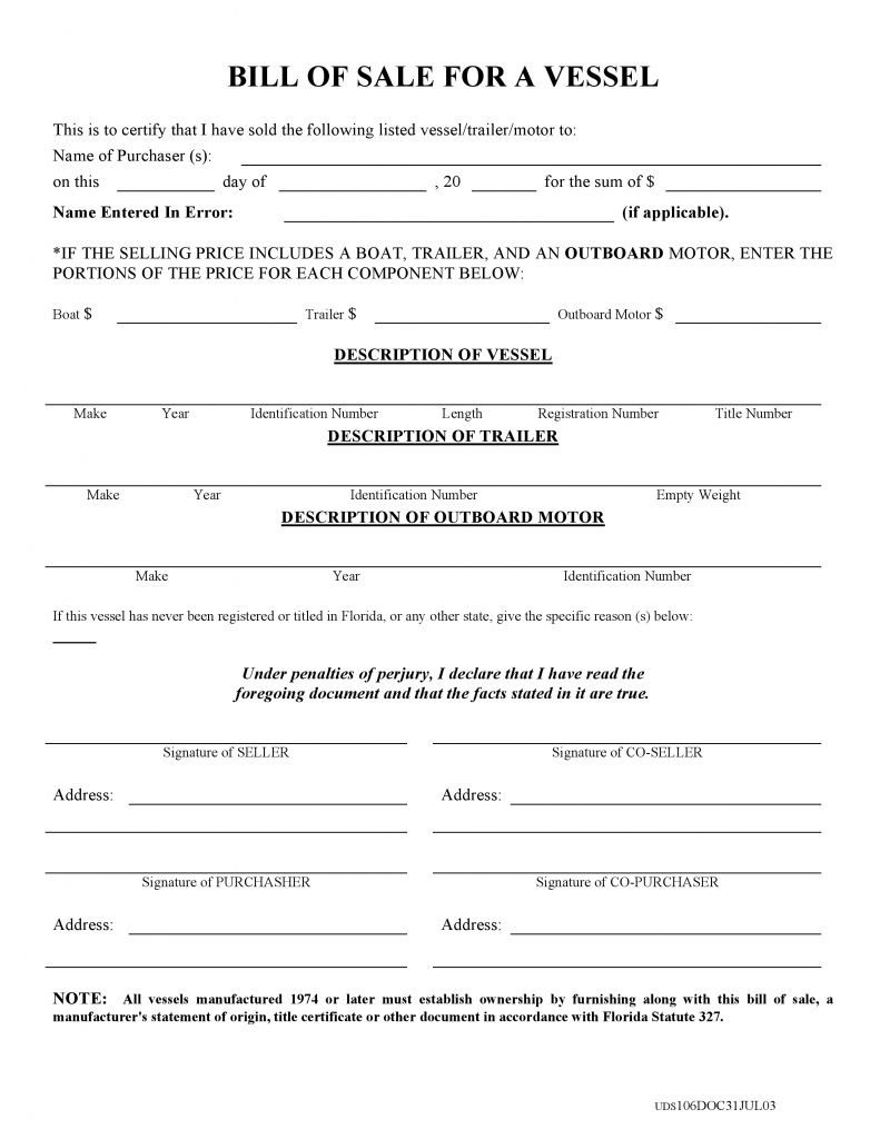 Bill Of Sale Florida Template Free Florida Boat Bill Of Sale form Pdf