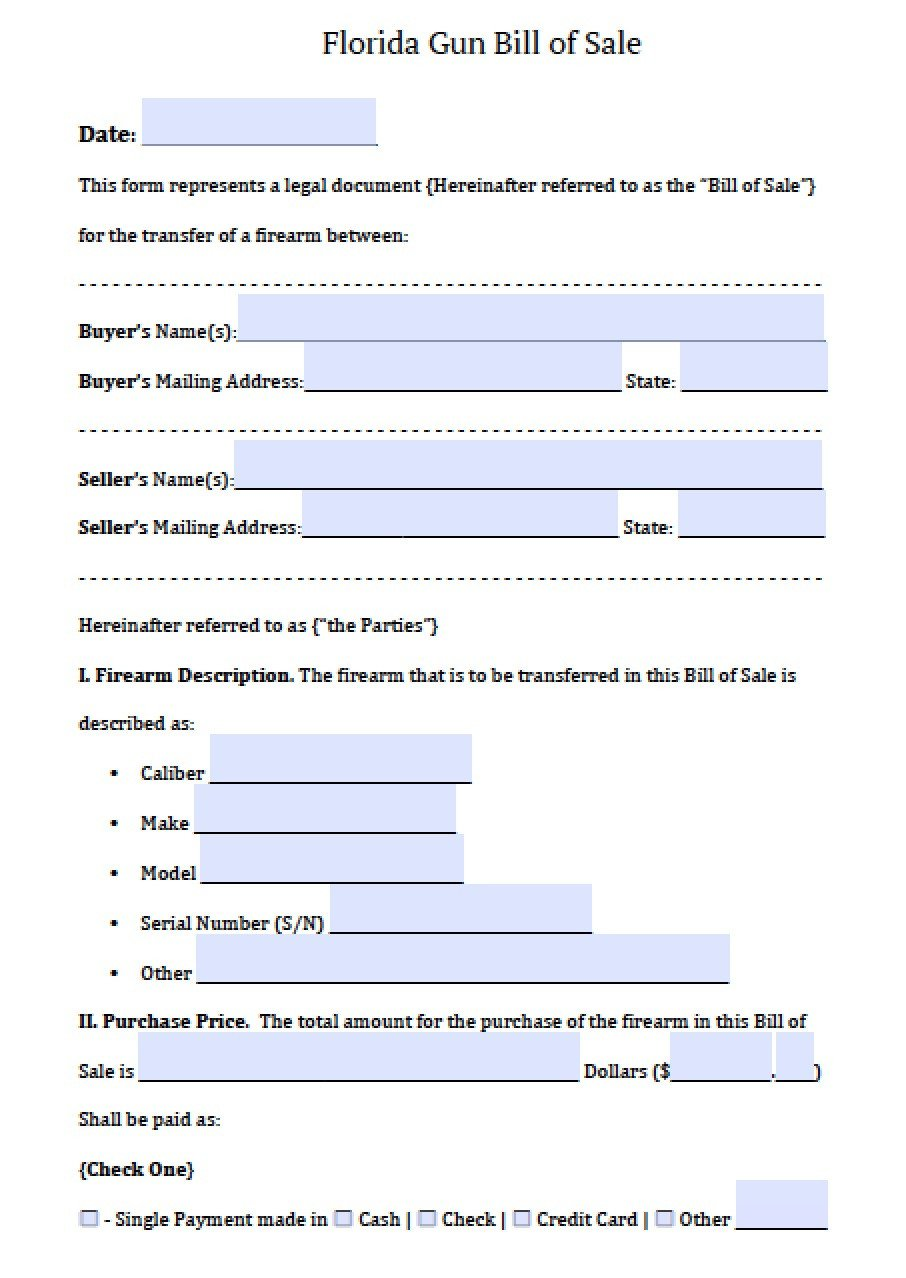 Bill Of Sale Florida Template Free Florida Firearm Gun Bill Of Sale form Pdf