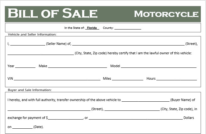 Bill Of Sale Florida Template Free Florida Motorcycle Bill Of Sale Template F Road