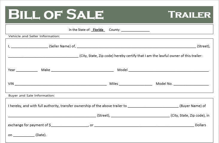 Bill Of Sale Florida Template Free Florida Trailer Bill Of Sale Template F Road Freedom