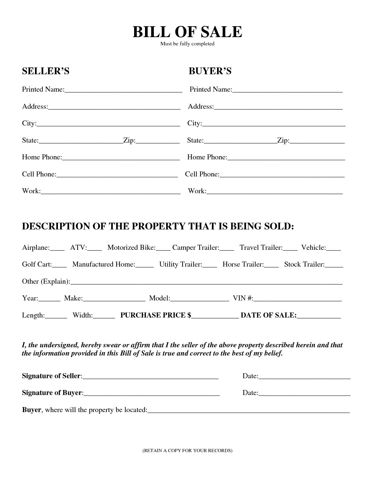Bill Of Sale Florida Template Free Printable Equipment Bill Sale Template form Generic
