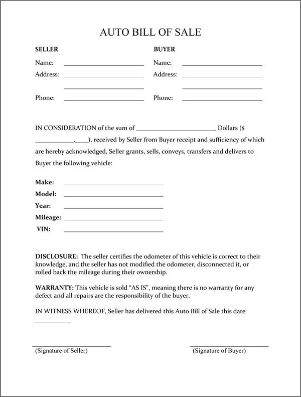 Bill Of Sale form Template Bill Of Sale form Template