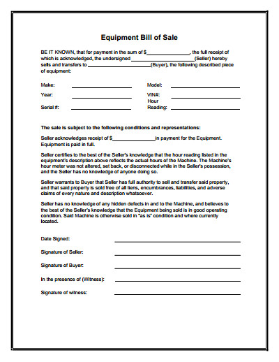 Bill Of Sale form Template Equipment Bill Of Sale form Download Create Edit Fill