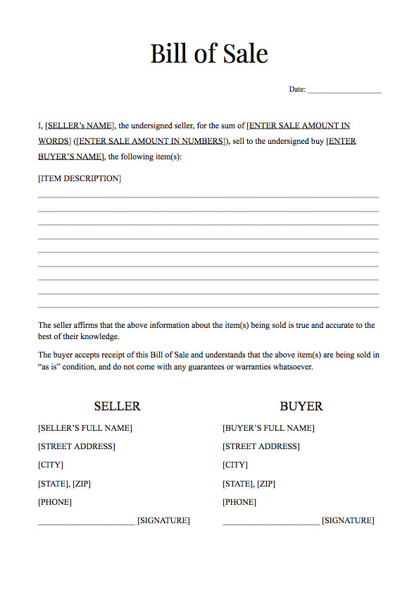 Bill Of Sale form Template Free Bill Of Sale form Template