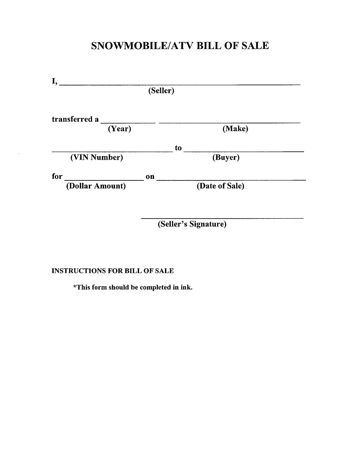 Bill Of Sale form Template Free Printable Bill Of Sale Templates form Generic
