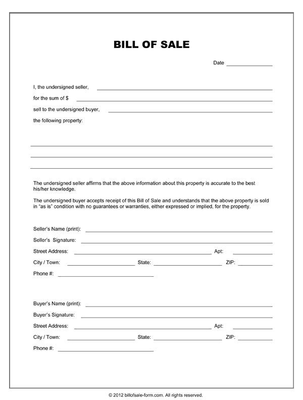 Bill Of Sale form Template Free Printable Equipment Bill Sale Template form Generic
