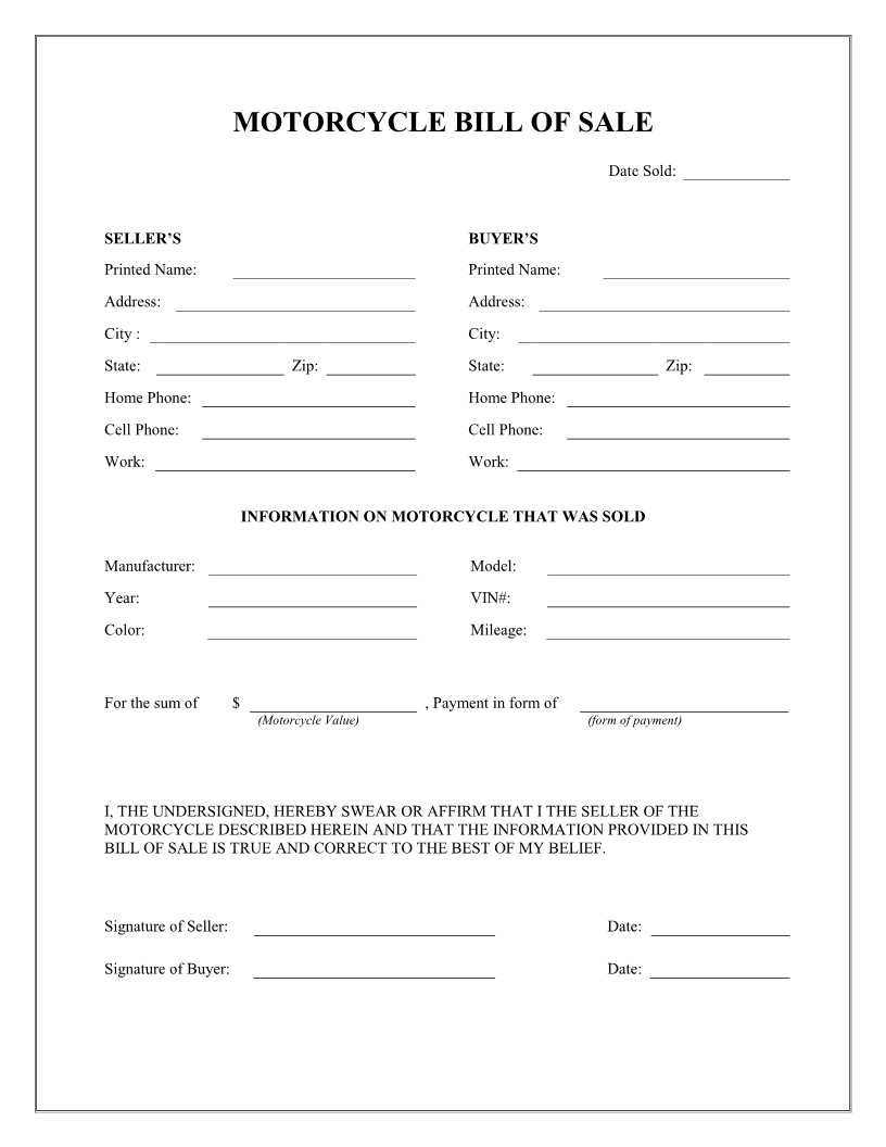 Bill Of Sale form Template Free Printable Motorcycle Bill Of Sale form Template