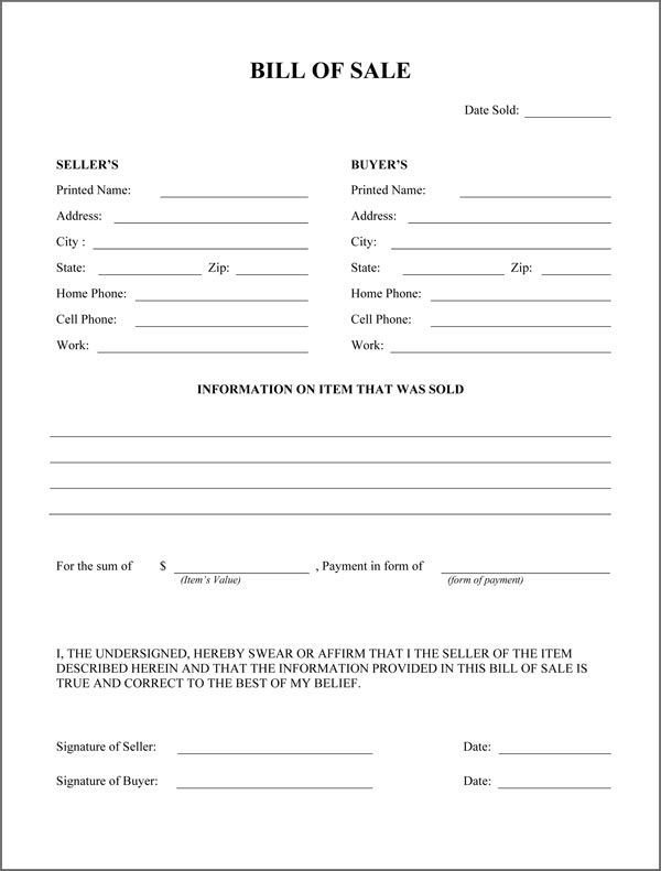 Bill Of Sale form Template Free Printable Rv Bill Of Sale form form Generic