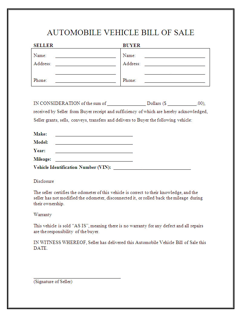 Bill Of Sale form Template Free Printable Vehicle Bill Of Sale Template form Generic