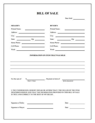 Bill Of Sale form Template General Bill Of Sale form Free Download Create Edit