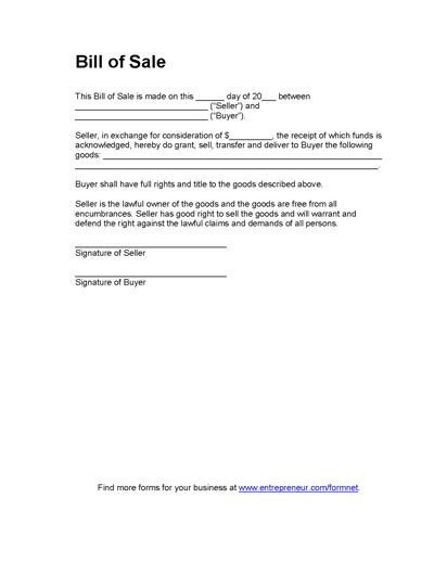 Bill Of Sale form Template Printable Sample Bill Of Sales Template form