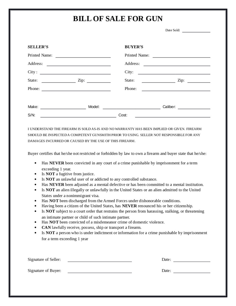 Bill Of Sale Images 2019 Firearm Bill Of Sale form Fillable Printable Pdf